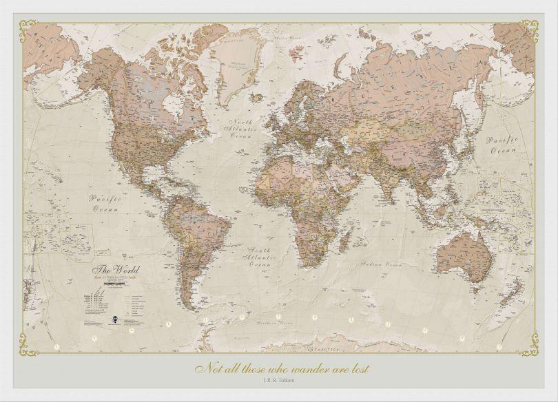 Medium Personalised Antique World Map (Wood Frame - White)