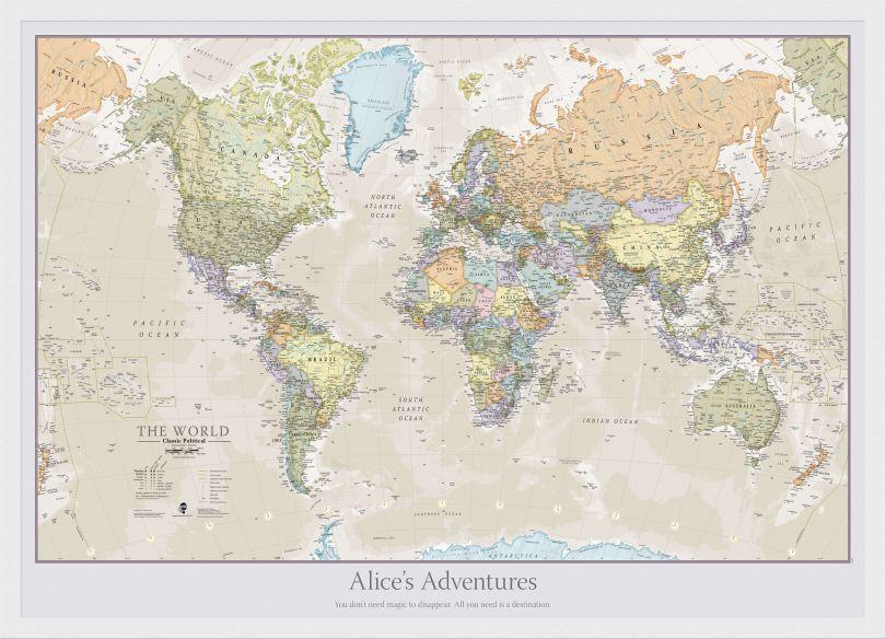 Medium Personalised Classic World Map (Wood Frame - White)
