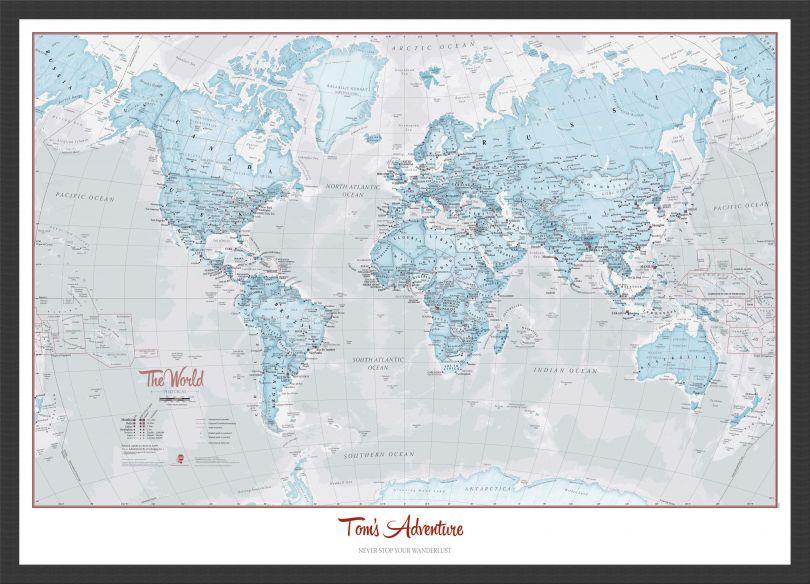 Small Personalised World Is Art - Wall Map Aqua (Wood Frame - Black)