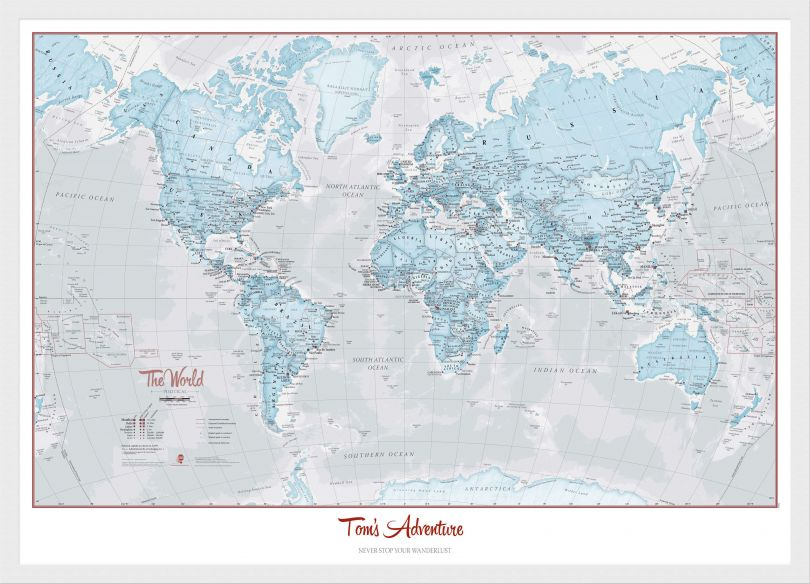 Small Personalised World Is Art - Wall Map Aqua (Wood Frame - White)