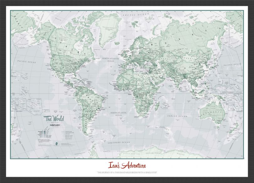 Small Personalised World Is Art - Wall Map Rustic (Wood Frame - Black)