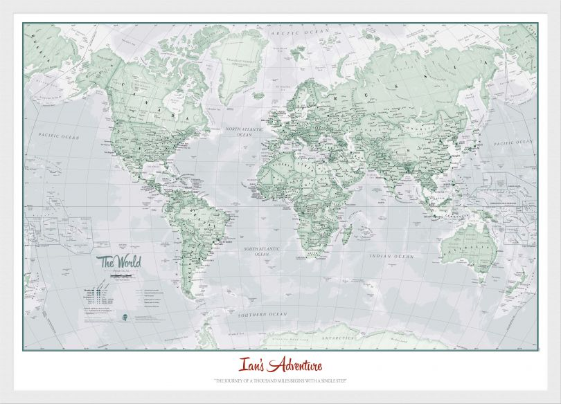 Small Personalised World Is Art - Wall Map Rustic (Wood Frame - White)