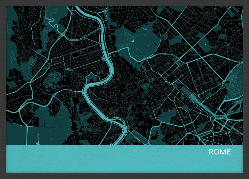 A3 Rome City Street Map Print Turquoise (Wood Frame - Black)