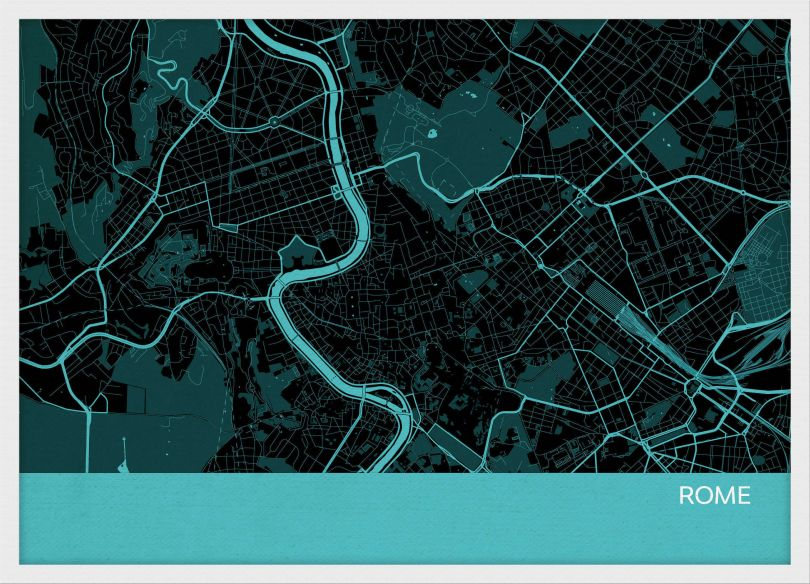 A3 Rome City Street Map Print Turquoise (Wood Frame - White)
