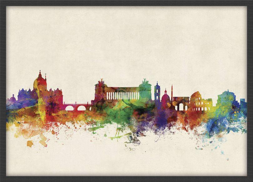 Small Rome Watercolour Skyline (Pinboard & wood frame - Black)