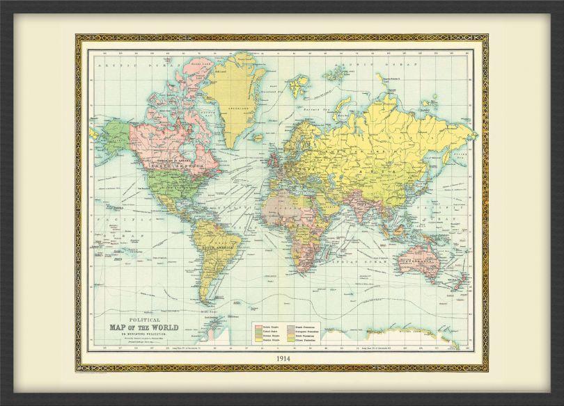 Medium Vintage Bartholomew Political World Map 1914 (Pinboard & wood frame - Black)