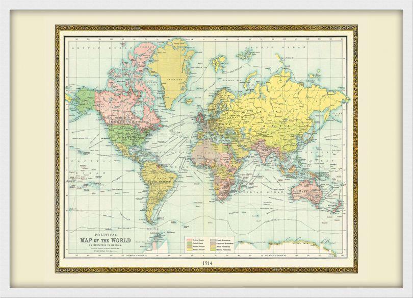 Medium Vintage Bartholomew Political World Map 1914 (Pinboard & wood frame - White)