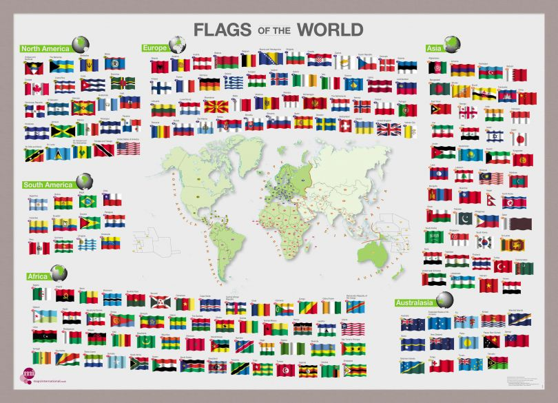 Flags of the World poster (Pinboard & framed - Silver)