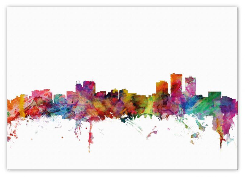 Medium Anchorage Watercolour Skyline (Canvas)
