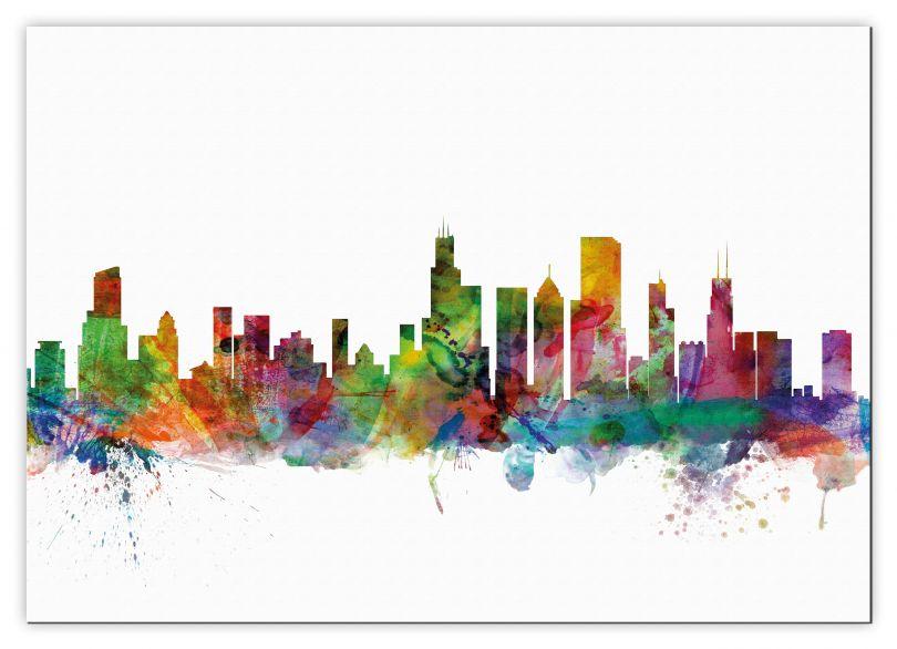 Large Chicago Illinois Watercolour Skyline (Canvas)