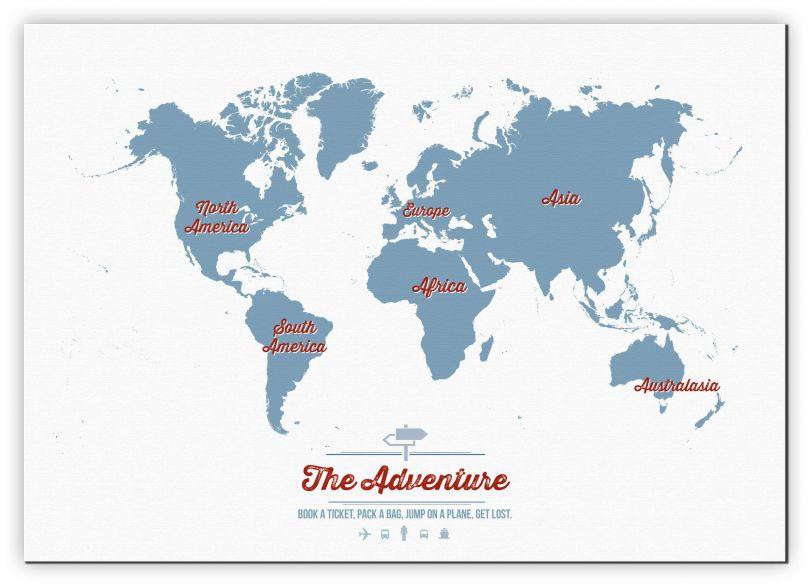 Medium Personalised Travel Map of the World - Denim (Canvas)