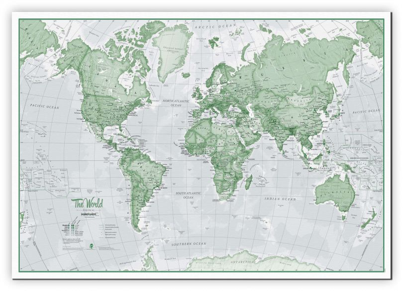 Small The World Is Art - Wall Map Green (Canvas)
