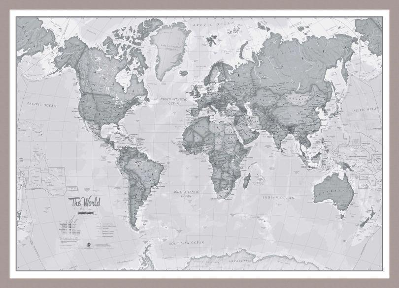 Medium The World Is Art - Wall Map Grey (Pinboard & framed - Silver)