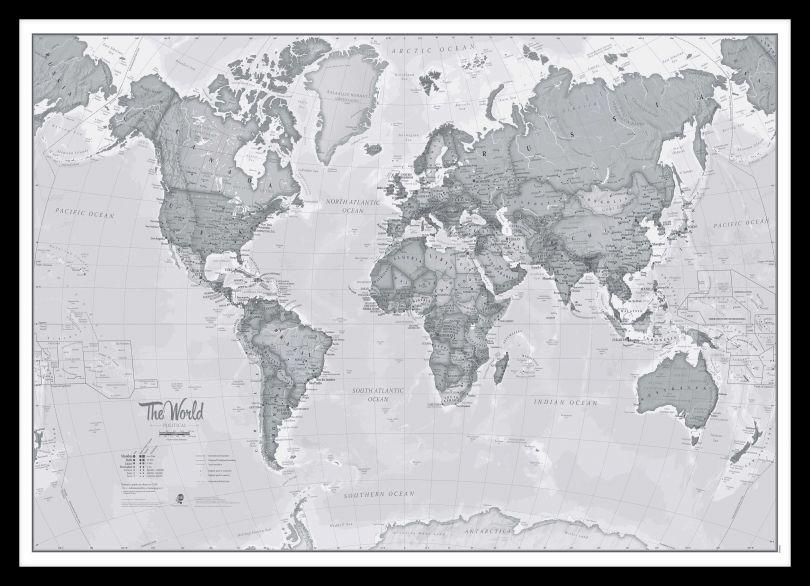 Medium The World Is Art - Wall Map Grey (Pinboard & framed - Black)