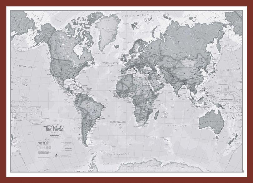 Medium The World Is Art - Wall Map Grey (Pinboard & framed - Dark Oak)