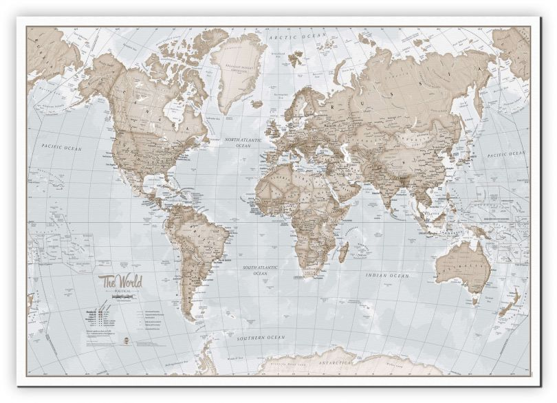 Large The World Is Art - Wall Map Neutral (Canvas)