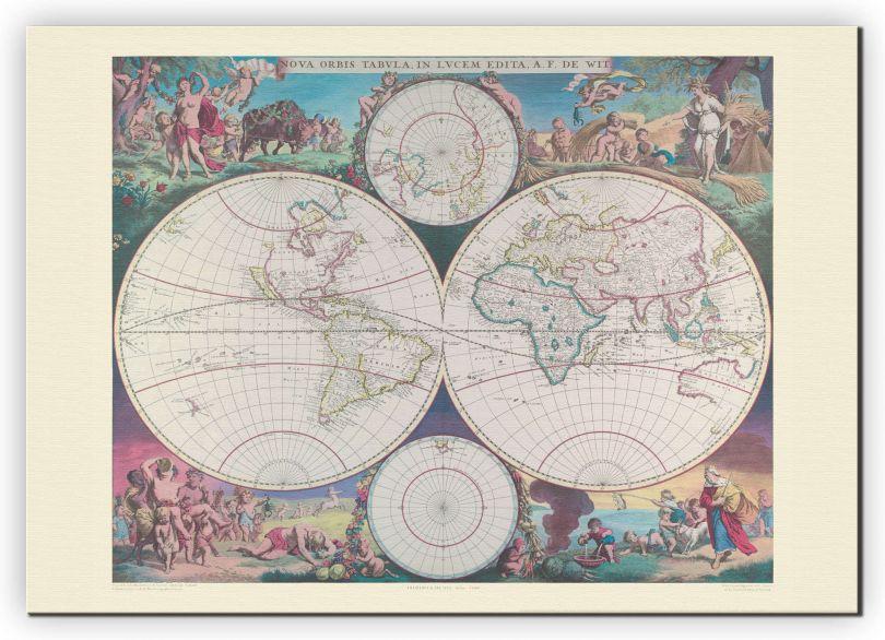 Medium Vintage Double Hemisphere World Map 1689 (Canvas)