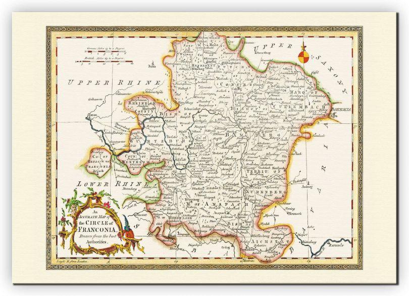 Medium Vintage Map of Franconia (Canvas)