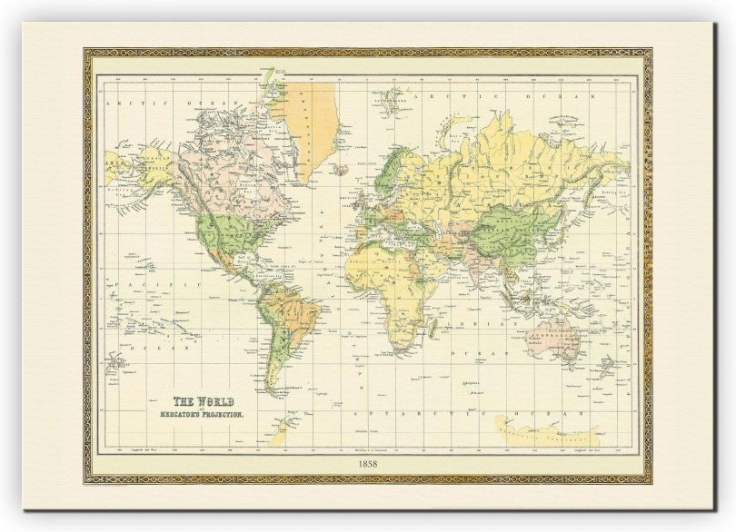 Small Vintage Mercators Projection World Map 1858 (Canvas)