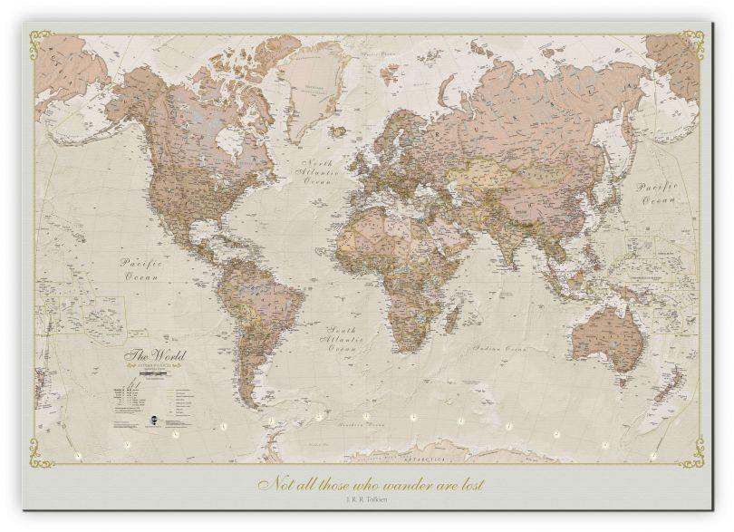 Medium Personalised Antique World Map (Canvas)