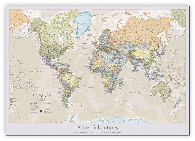 Medium Personalised Classic World Map (Canvas)