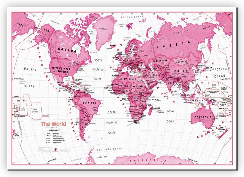 Large Children's Art Map of the World Pink (Canvas)