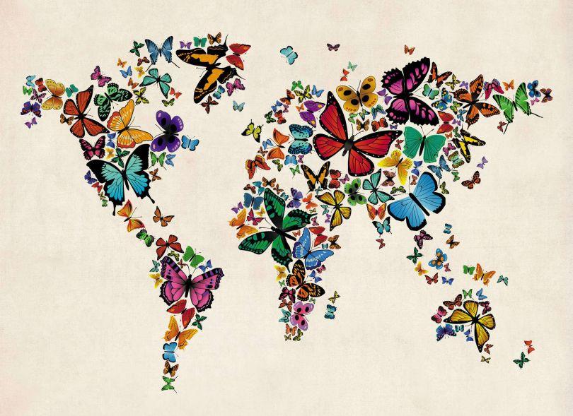 Butterflies Map of the World 3