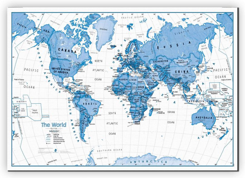 Large Children's Art Map of the World Blue (Canvas)