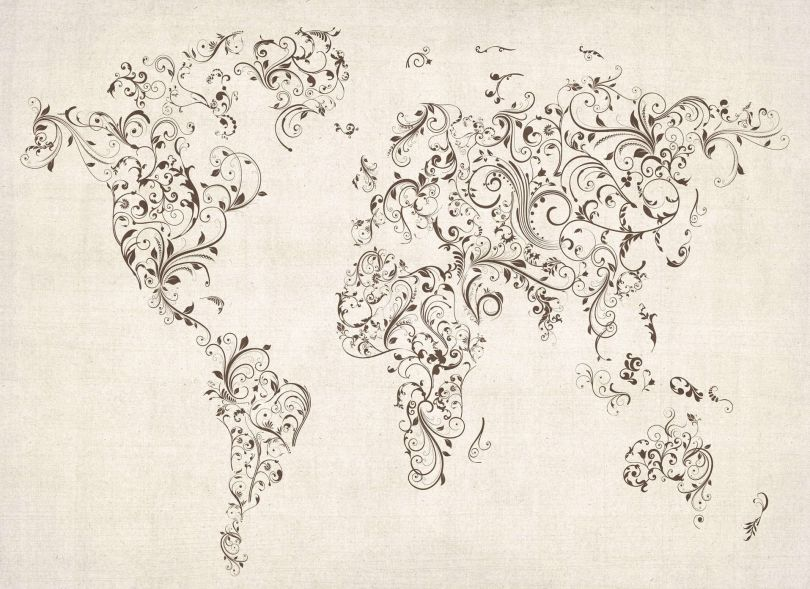 Huge Floral Swirls Map of the World (Rolled Canvas - No Frame)