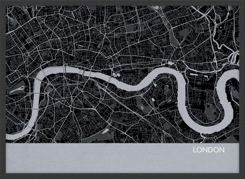 Small London City Street Map Print Charcoal (Wood Frame - Black)