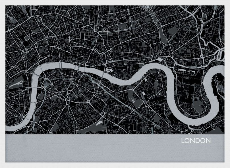 Small London City Street Map Print Charcoal (Wood Frame - White)