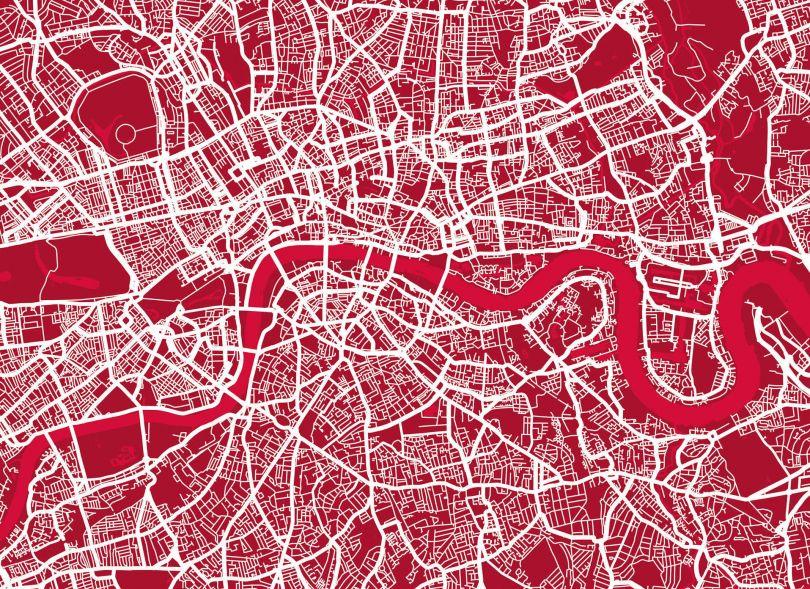 Medium London Street Art Map (Rolled Canvas - No Frame)
