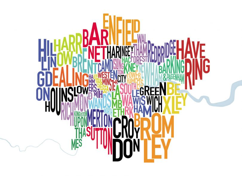 Large London UK Text Map (Rolled Canvas - No Frame)