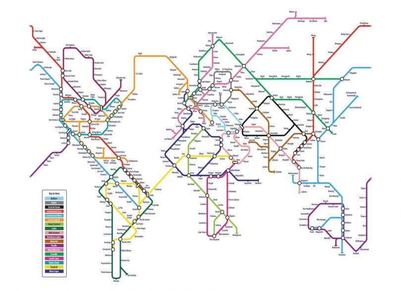 Metro Subway Map of the World