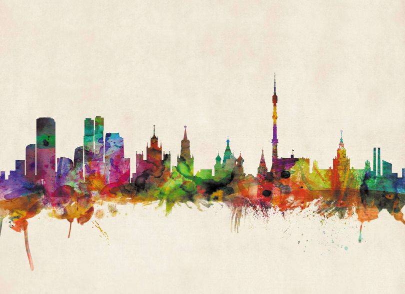 Small Moscow City Skyline (Rolled Canvas - No Frame)