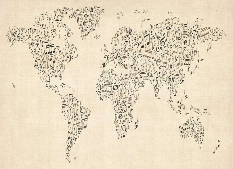 Music Notes World Map of the World