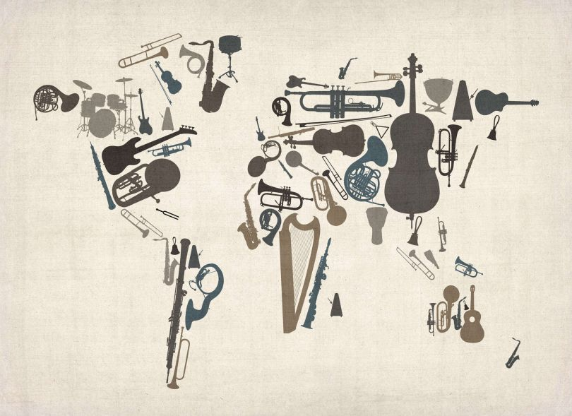 Huge Musical Instruments Map of the World  (Rolled Canvas - No Frame)