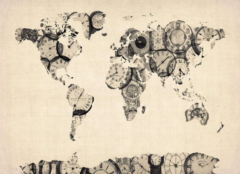 Old Clocks Map of the World