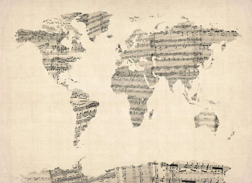 Large Old Sheet Music Map of the World (Rolled Canvas - No Frame)