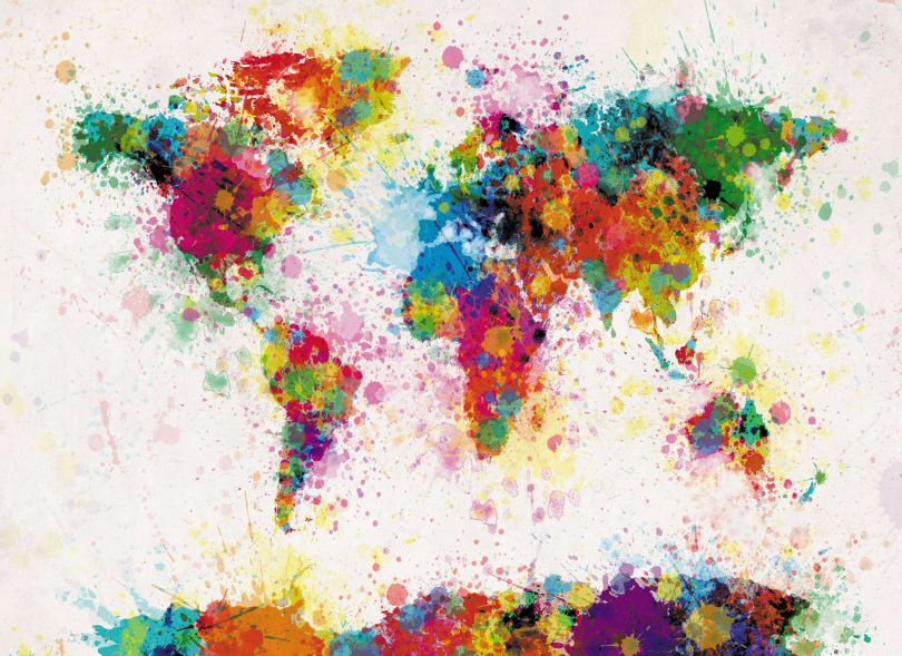Small Paint Splashes Map of the World (Rolled Canvas - No Frame)