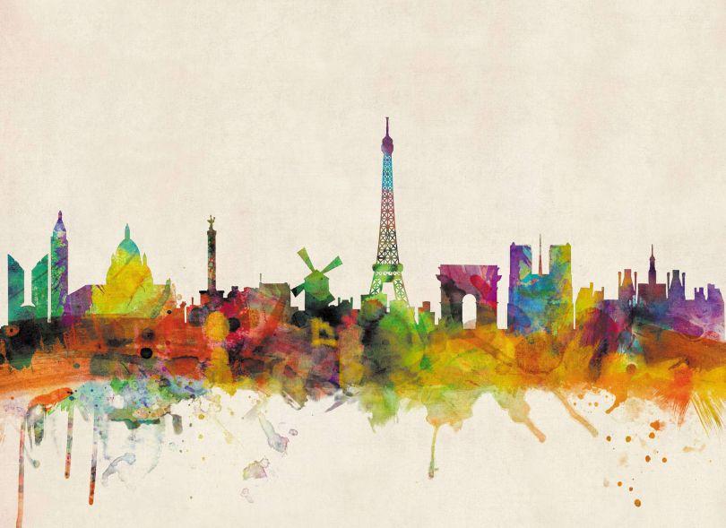 Medium Paris City Skyline (Silk Art Paper)