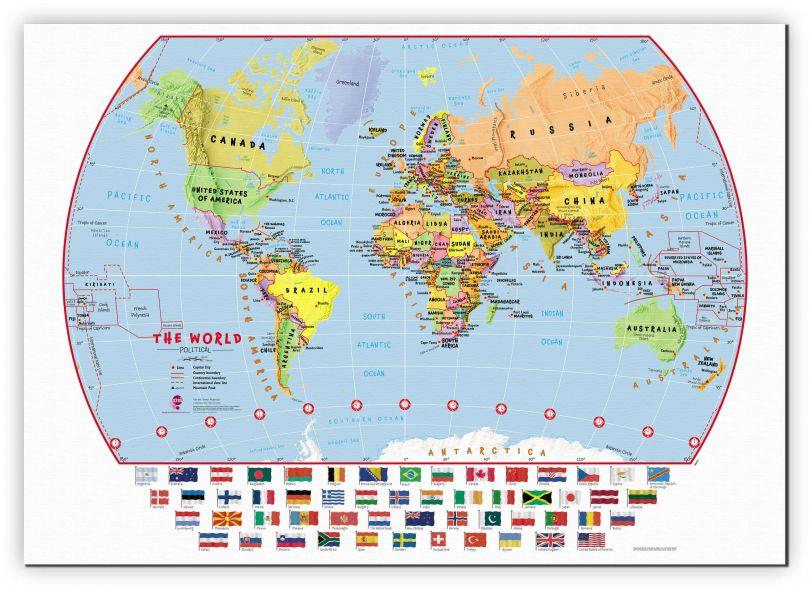Medium Primary World Wall Map Political with flags (Canvas)