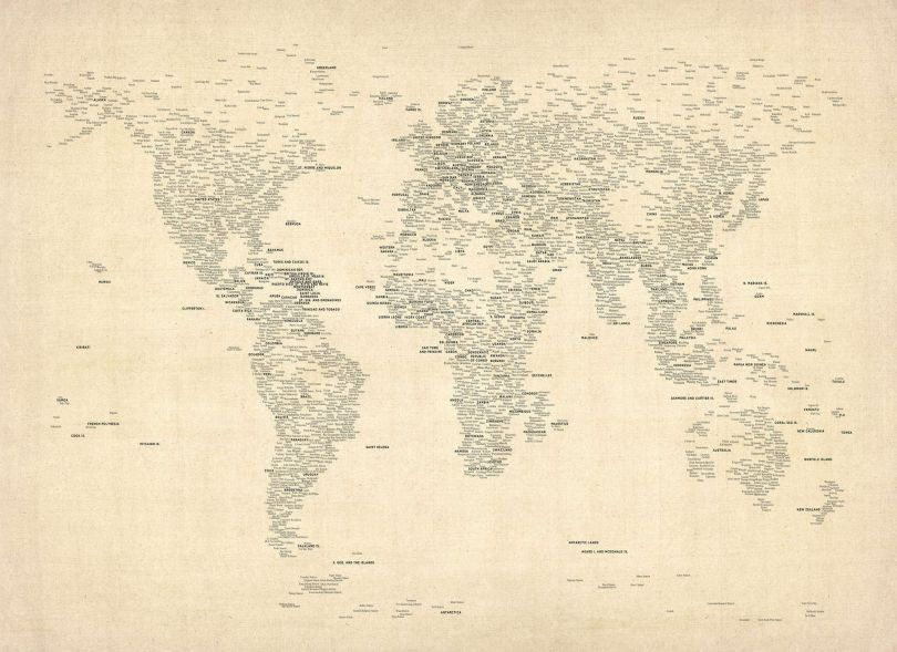 Medium Typography World Map of Cities (Rolled Canvas - No Frame)