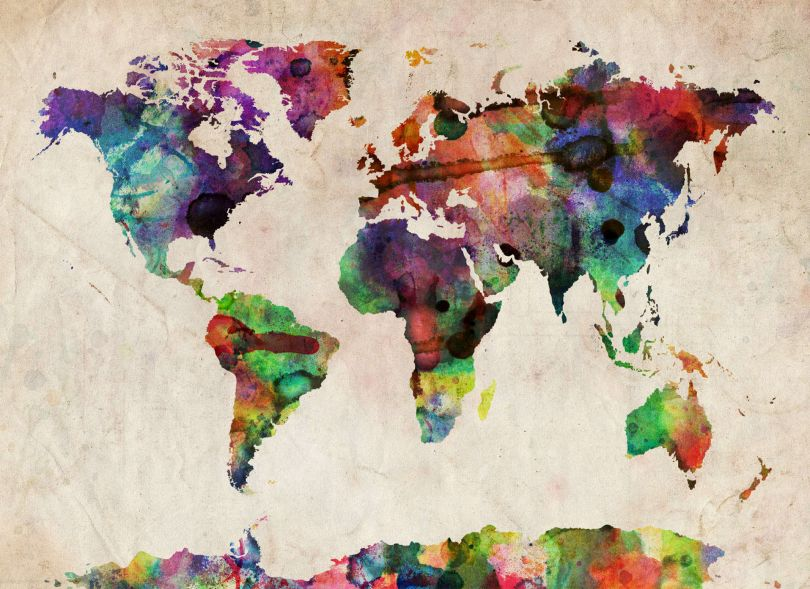 Medium Urban Watercolor Map of the World (Rolled Canvas - No Frame)