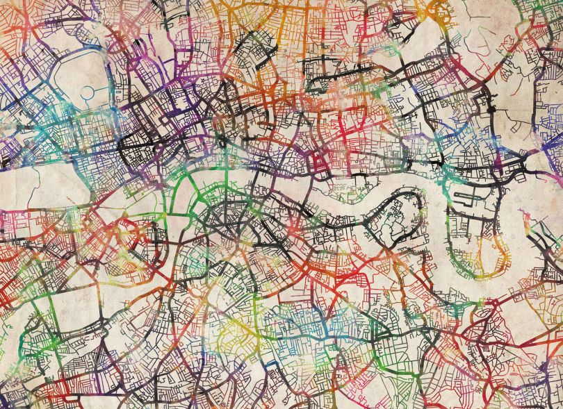 Medium Watercolour Map of London (Rolled Canvas - No Frame)