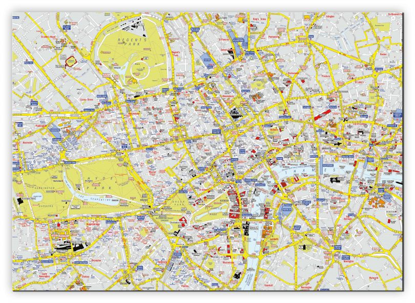 Small A-Z Visitors' Map London (Canvas)