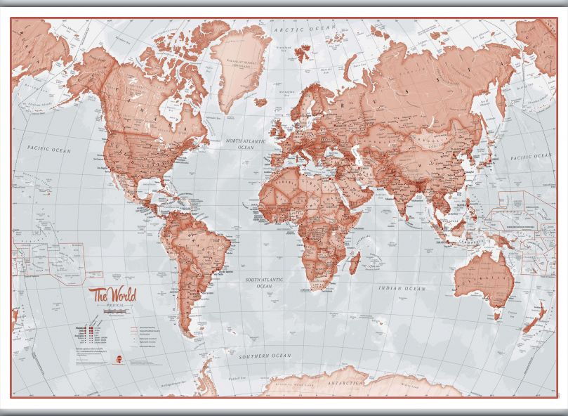 Huge The World Is Art - Wall Map Red (Rolled Canvas with Hanging Bars)