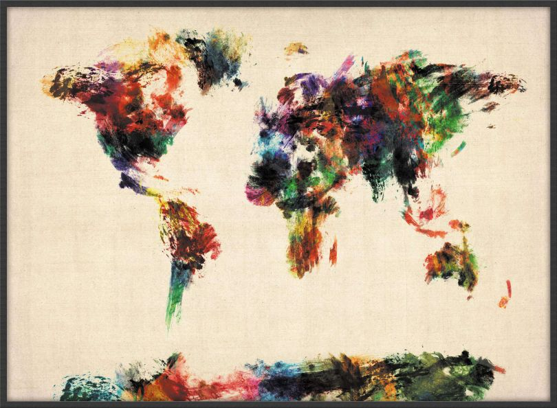 Large Abstract Painting Map of the World  (Wood Frame - Black)
