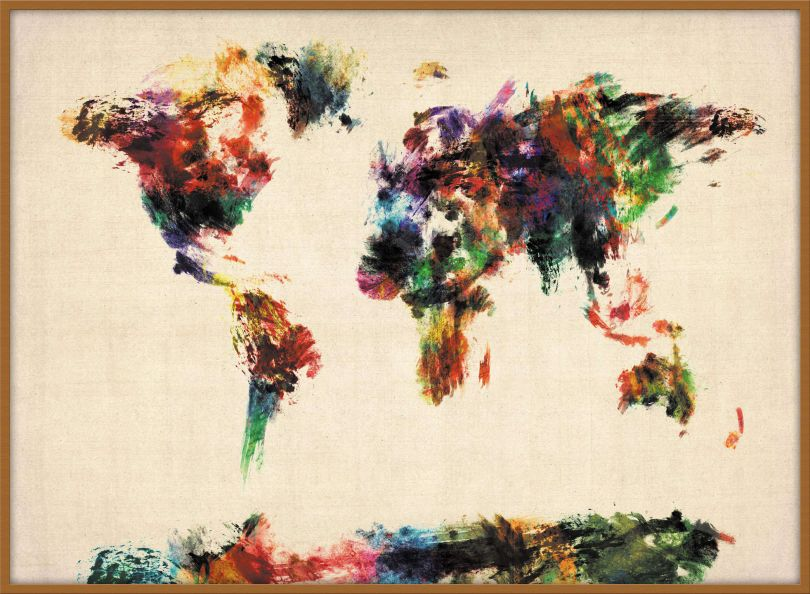 Large Abstract Painting Map of the World  (Wood Frame - Teak)