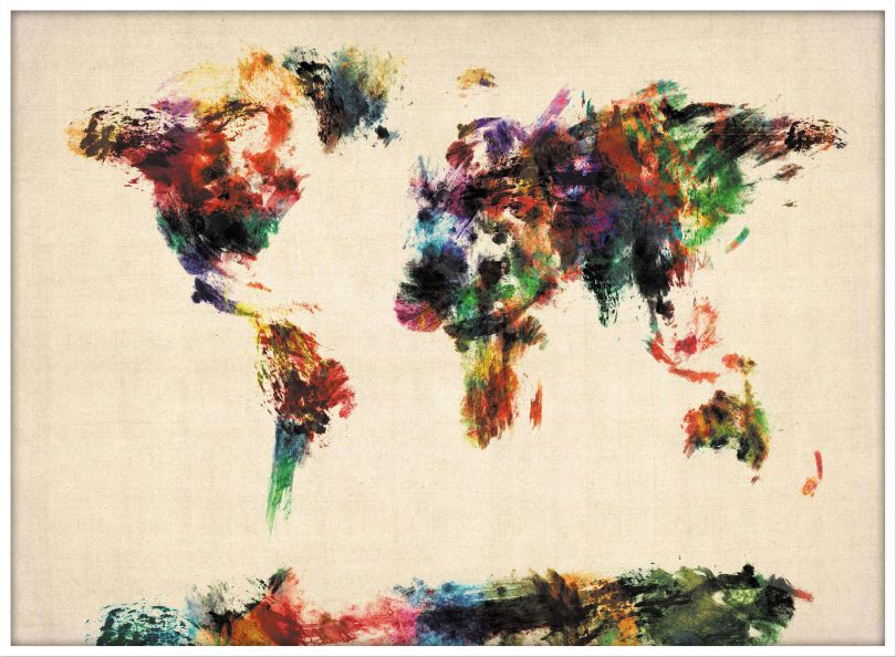 Large Abstract Painting Map of the World  (Pinboard & wood frame - White)